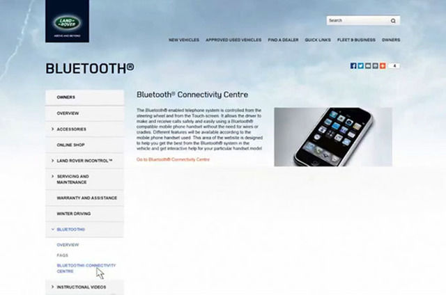 BLUETOOTH® CONNECTIVITY WEB PAGE
